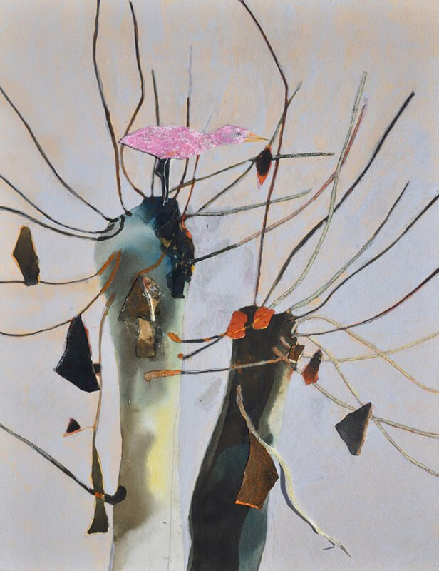Pink bird in trees, 2010