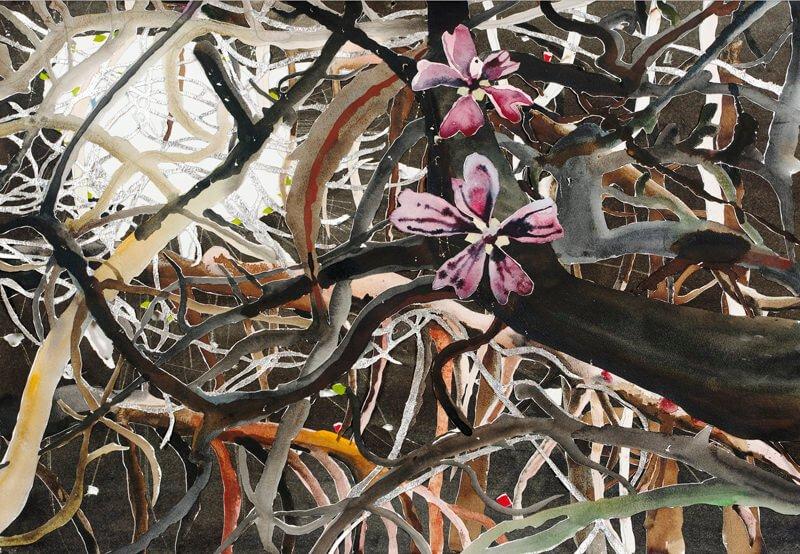 Purple flowers and apple tree, ii, 2004