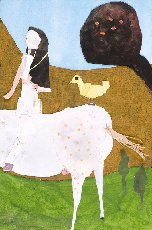 The girl sitting on a cow talking to a duck, 2008